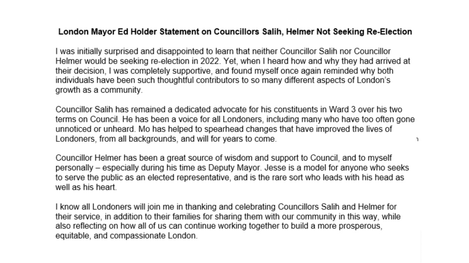 Statement from Mayor Ed Holder