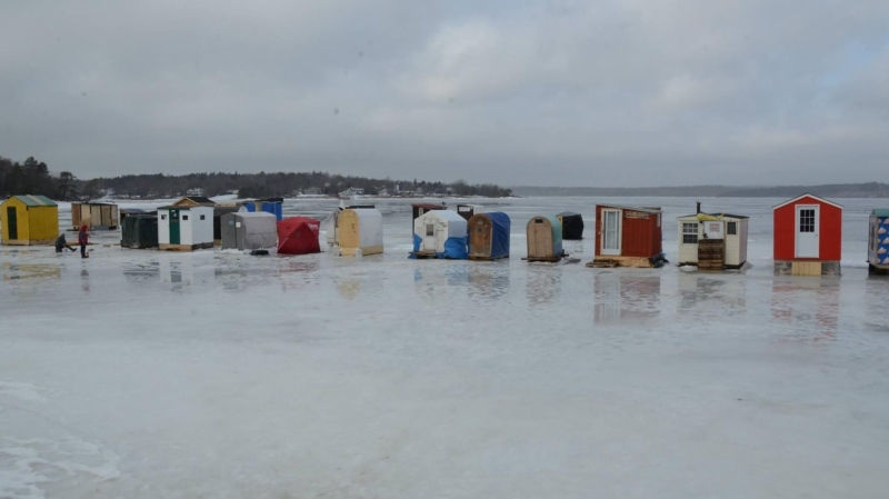New Brunswick announced Wednesday that ice fishing shelters in the southern part of the province must be removed by March 8, and shelters in the northern part of the province must be removed by March 15. (Photo courtesy: Twitter/ Government of N.B.)
