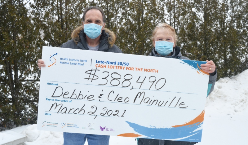 Debbie and Cleo Mainville of Sudbury are the February winners of Health Sciences North's 50/50 lottery, taking home a total of $388,490. (Supplied)