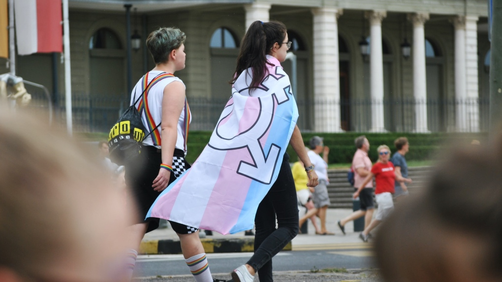 Person with trans flag