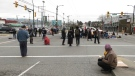 Protesters blocked the intersection outside the Port of Vancouver into the morning of March 3, 2021.