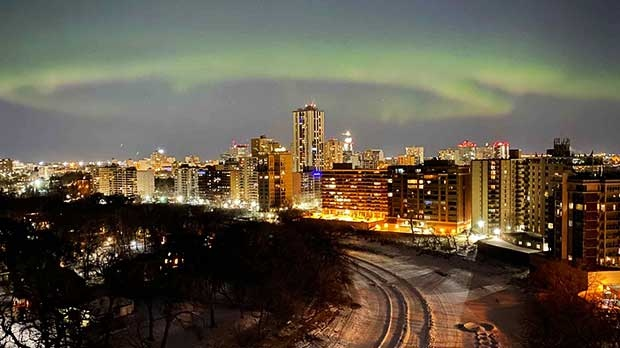 Northern Lights over Winnipeg. Photo by Celina Flett.