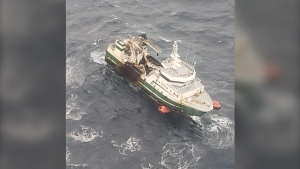 The 43-metre commercial fishing vessel issued a mayday call off the eastern part of George's Bank, about 220 km off the coast of Yarmouth, at 8 p.m. Tuesday. (Photo courtesy: Twitter/ @hfxjrcc)