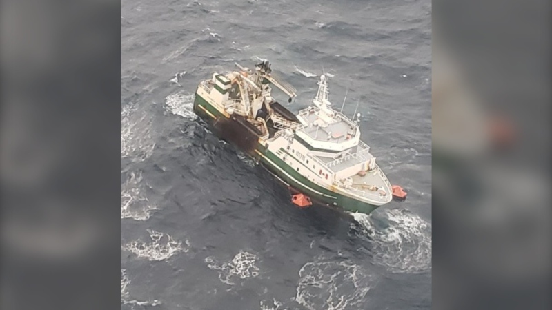 The 39-metre commercial fishing vessel issued a mayday call off the eastern part of George's Bank, about 220 km off the coast of Yarmouth, at 8 p.m. Tuesday. (Photo courtesy: Twitter/ @hfxjrcc)