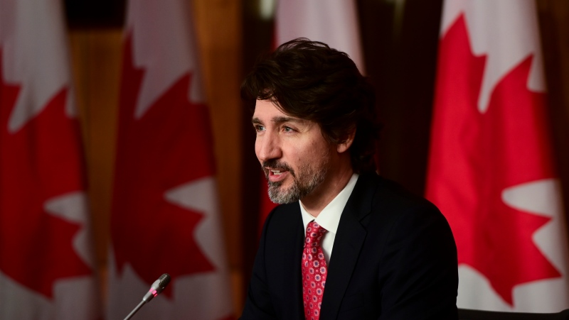 Prime Minister Justin Trudeau holds a press conference in Ottawa on Friday, Feb. 26, 2021, to provide an update on the COVID-19 pandemic and vaccine roll-out in Canada. THE CANADIAN PRESS/Sean Kilpatrick