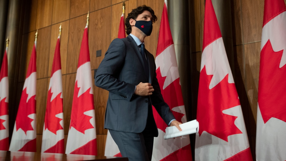 Prime Minister Justin Trudeau leaves a news conference in Ottawa on Wednesday, March 3, 2021. THE CANADIAN PRESS/Adrian Wyld