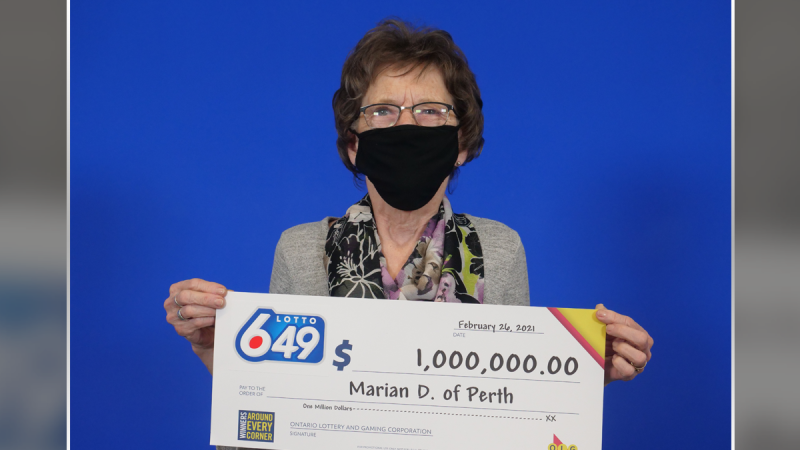 Marian Dowdell of Perth won the guaranteed $1 million prize in the Feb. 6 Lotto Max draw. (Photo courtesy: OLG)