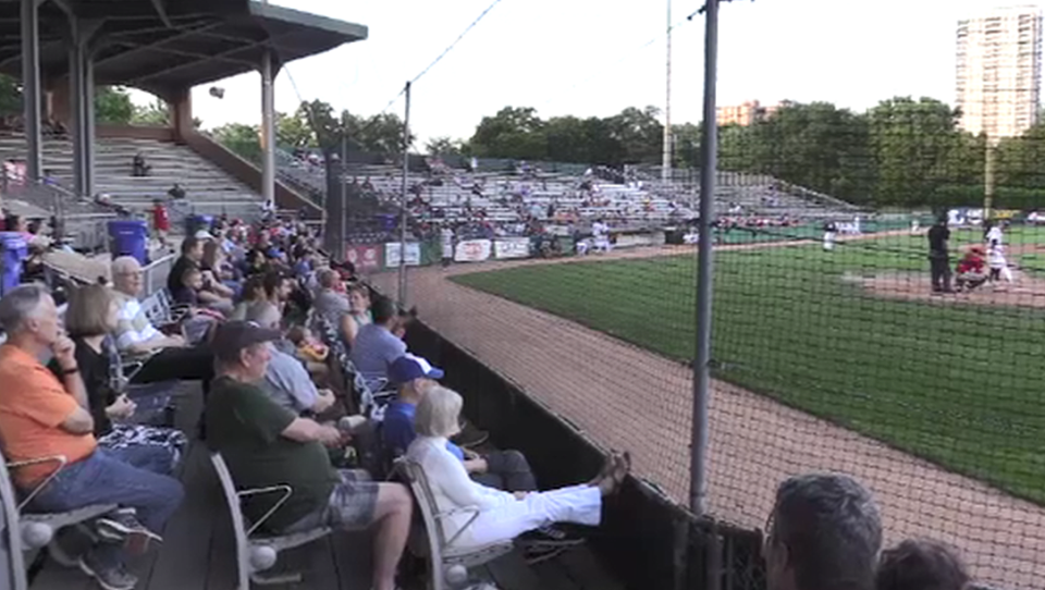 Fans attend a Majors game at Labatt Park in 2019