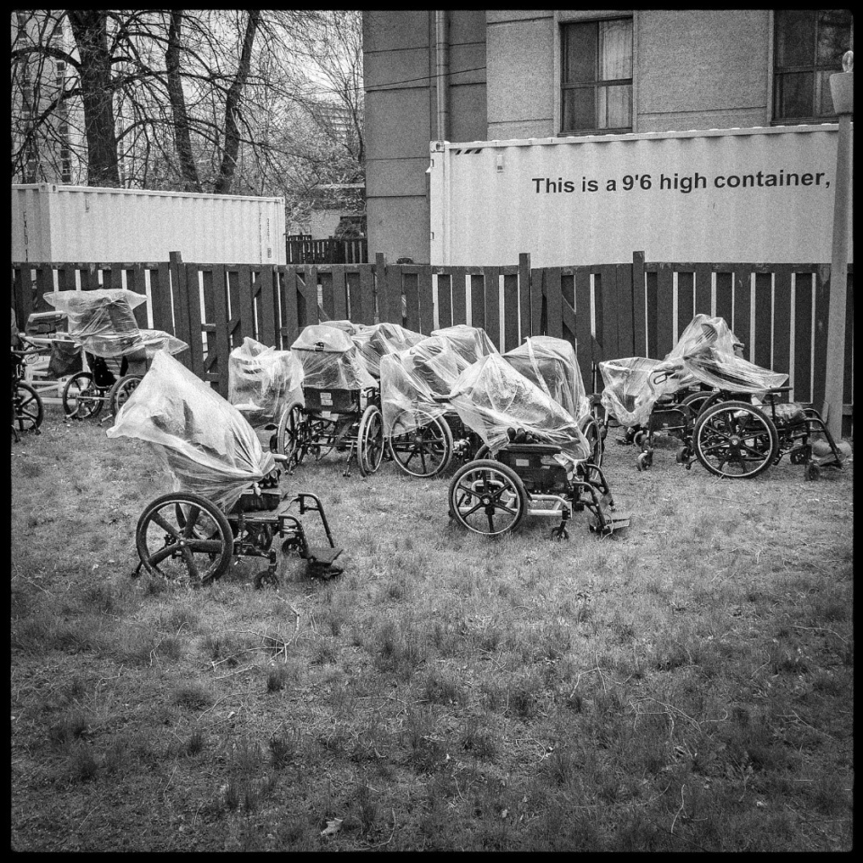 Discarded wheelchairs at long-term care home