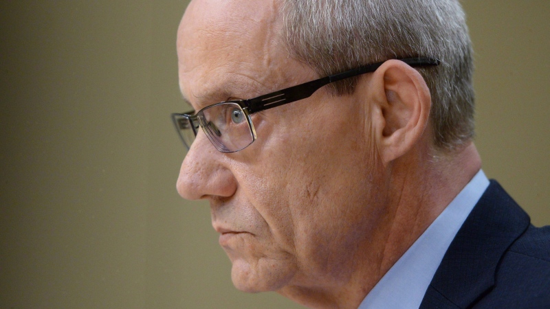 "Canadian Forces ombudsman Gary Walbourne appears at a Senate veterans affairs committee in Ottawa on Wednesday, May 4, 2016. Walbourne has dropped the gloves in what appears to have become a tense battle with National Defence, accusing officials of ""insidious"" attacks whenever his office releases a report critical of the department. THE CANADIAN PRESS/Sean Kilpatrick"
