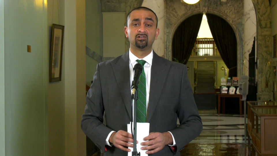 NDP Jobs Minister Ravi Kahlon speaks to reporters at the B.C. legislature on March 2, 2021.