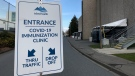 A sign outside a COVID-19 vaccine clinic at the University of Victoria. (CTV News)