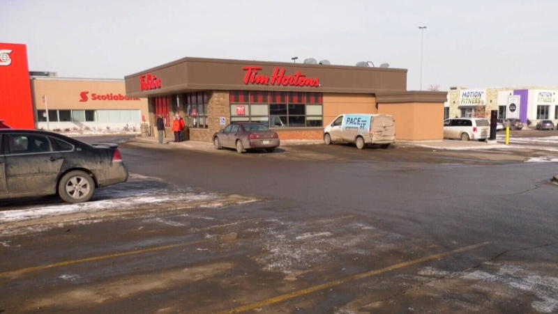 A seven-year-old boy was found in the parking lot of this Saskatoon Tim Hortons in June of 2020. (Chad Hills/CTV News)
