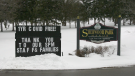 A sign at the entrance of Sherwood Park Manor east of Brockville thanks residents, staff and families for keeping the facility COVID-19 free. (Nate Vandermeer/CTV News Ottawa)