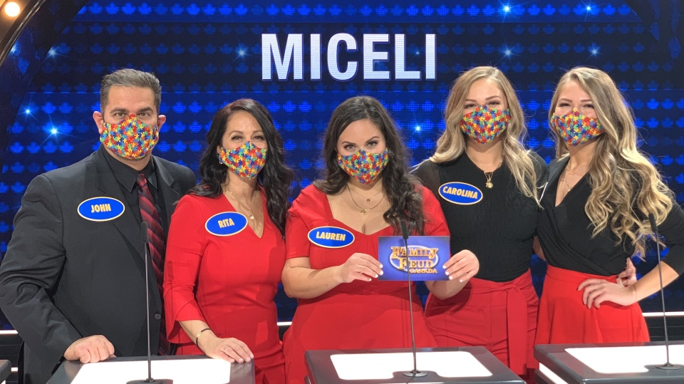 The Miceli family during their Family Feud Canada debut. (courtesy Miceli family/CBC)