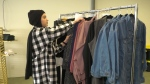 Wedad Amari with her latest collection of clothing. March 3, 2021. (CTV News Edmonton)