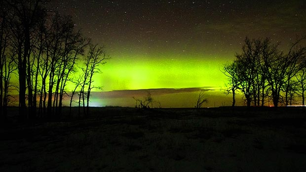 Incredible Aurora Borealis last night near Hartney. Photo by Dylan Bertholet.