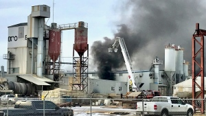 Crews responded to a fire at the Expocrete Manufacturing Centre west of Edmonton on Wednesday, March 3, 2021. (Sean Amato/CTV News Edmonton)