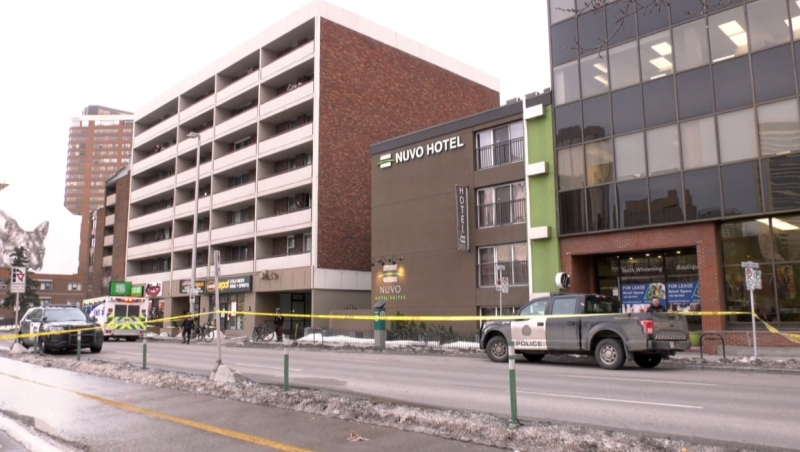 Police say a person was killed following an incident involving officers at Calgary's Nuvo Hotel.