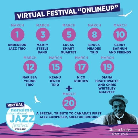 From March 1 to 20, nine different performances from Vancouver Island jazz musicians will be posted on the festival's website for people to enjoy.