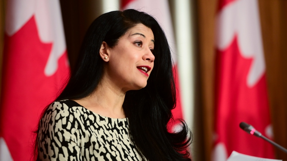 Dr. Supriya Sharma, chief medical adviser at Health Canada, holds a press conference in Ottawa on Friday, Feb. 26, 2021, to provide an update on the COVID-19 pandemic and vaccine rollout in Canada. (THE CANADIAN PRESS/Sean Kilpatrick)