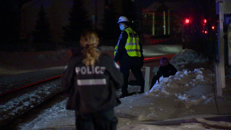 Police (SPVM) believe that the death of an 18-year-old boy and his dog was an accident after the two were struck and killed by a train March 4, 2021. (Cosmo Santamaria/CTV News)