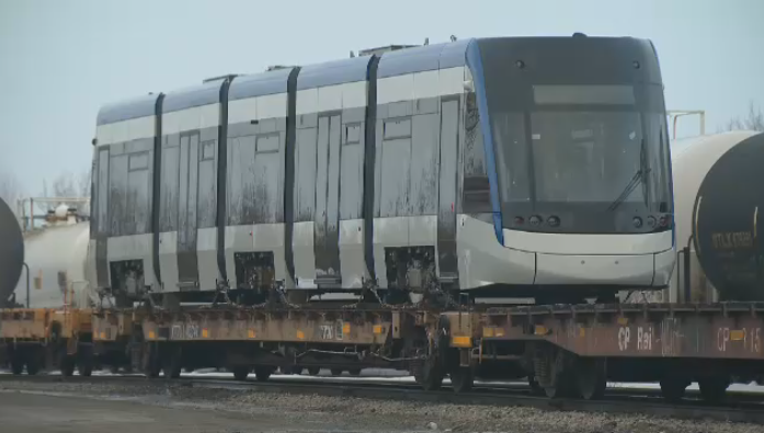 A new ION train arrives in Waterloo Region free of charge from Bombardier. (CTV Kitchener) (March 4, 2021)
