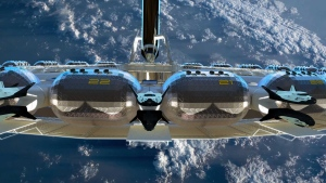 In 2019, Californian company the Gateway Foundation released plans for a cruise ship-style hotel that could one day float above the Earth's atmosphere. (Orbital Assembly Corporation)