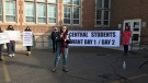 Roughly 50 people took part in a protest outside of Central Seconday School against the proposed switch to semesters in London, Ont. on Thursday, March 4, 2021. (Sean Irvine / CTV London)