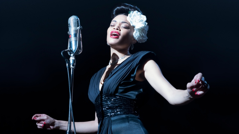 "This image released by Paramount Pictures shows Andra Day in ""The United States vs Billie Holiday."" Day accepted the award best actress in a motion picture drama at the Golden Globe Awards on Sunday, Feb. 28, 2021. (Takashi Seida/Paramount Pictures via AP)"