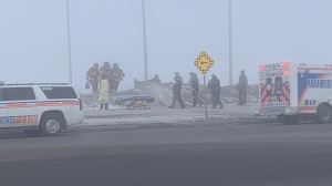Around 10:13 a.m. on Wednesday, Saskatoon Fire Department received a call about a single-vehicle rollover at Highway 16 and Zimmerman Road. (CTV Saskatoon)