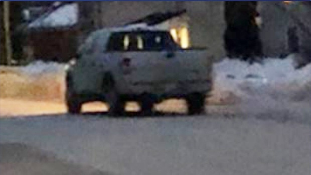 A white 2010 to 2015 Ford pickup truck with an extended cab was seen leaving an alleged armed robbery on Ontario Street in Collingwood, Ont., on March 1, 2021. (Supplied)