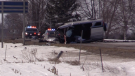OPP investigate a crash on Hwy 4 between Blyth and Londesborough Ont. on March 4, 2021. (Scott Miller/CTV London)