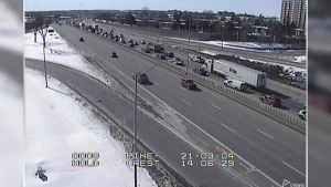A gravel spill closed the westbound lanes of Highway 417 at Pinecrest on Thursday. (Photo courtesy: Ontario Ministry of Transportation)