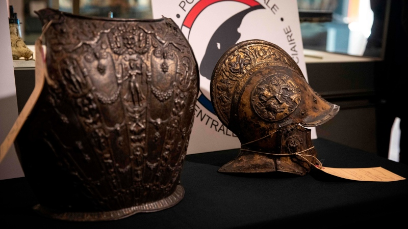 Two pieces of 16th-century armour have been returned to the Louvre museum in Paris almost 40 years after they were stolen. (THOMAS SAMSON/AFP/Getty Images/CNN)