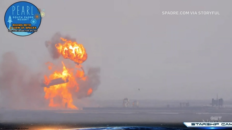 SpaceX Starship rocket explodes after landing