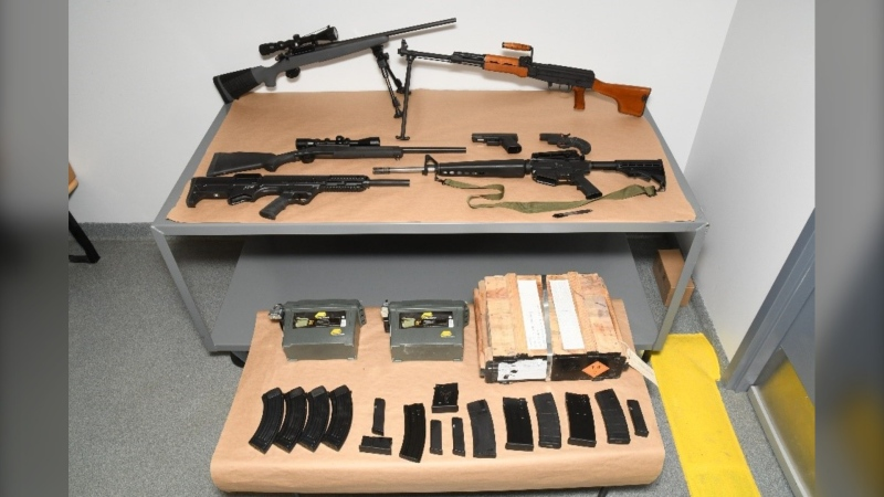 Some of the firearms and ammunition seized by Winnipeg police during a recent arrest (Image source: Winnipeg Police Service)