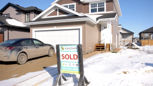 A Saskatoon house is marked as sold in this file photo.