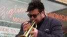 Windsor jazz musician Russ Macklem plays the trumpet On March 4, 2021. (Rich Garton/CTV Windsor)