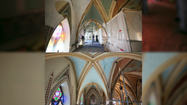 A before and after look at the completion in the first section of the interior of Assumption Church. (courtesy Assumption Parish)
