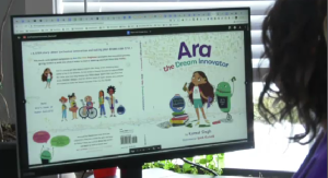 Komal Singh shares an image of her book showing girls working in STEM jobs