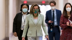 Speaker of the House Nancy Pelosi, D-Calif., leaves a news conference day after advancing sweeping voting and ethics legislation, and passing the George Floyd Justice in Policing Act, at the Capitol in Washington, Thursday, March 4, 2021. (AP Photo/J. Scott Applewhite)