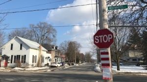 A street in a Cambridge neighbourhood where speed limits are dropping to 40 km/h (Dave Pettitt / CTV News Kitchener)