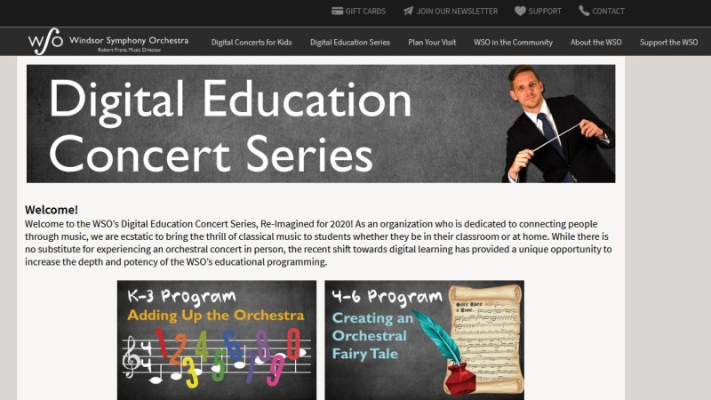 Windsor Symphony Orchestra education series online snapshot.