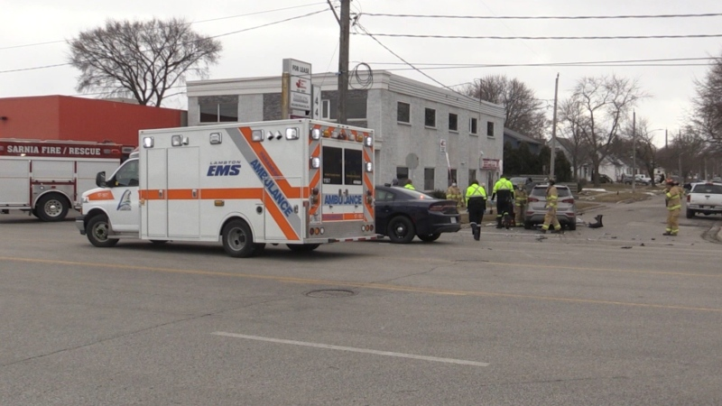 Lambton EMS on March 4, 2021. (Gerry Dewam?CTV London)