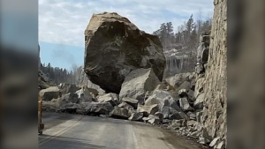 A massive boulder blocked off a highway near Kenora throughout the day on March 4, 2021. (Courtesy: Kenora Online)