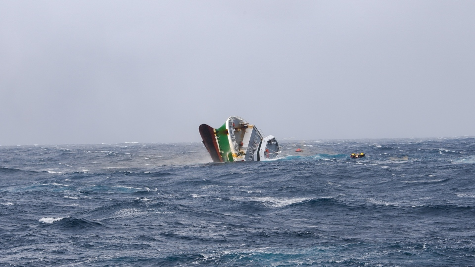 The 39-metre commercial fishing vessel Atlantic Destiny sinks off the eastern part of George's Bank on Wednesday morning. (JAYLON BROWNBRIDGE, CANADIAN COAST GUARD)