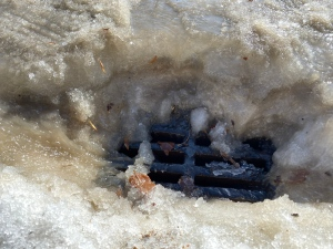 A catch basin in Regina is shown with water flowing in on March 4, 2021. (Cole Davenport/CTV News Regina)