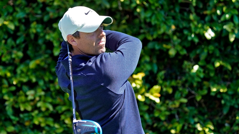 Rory McIlroy, of Northern Ireland, tees off on the ninth hole during the first round of the Arnold Palmer Invitational golf tournament Thursday, March 4, 2021, in Orlando, Fla. (AP Photo/John Raoux)