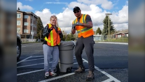 Nick Pilon and Kim Spanswick on the job. (Fraser Valley What's Up Now/Facebook)